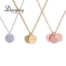 baby name necklace gold duoying 12 12 mm disc necklaces custom baby name necklace