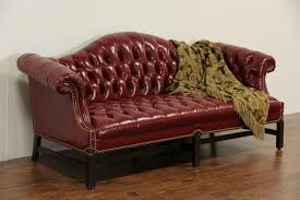 Antique Tufted Sofa by Sold Red Leather Vintage Tufted Library Sofa Custom Made Harp