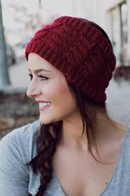 burgundy headband cable knit headband