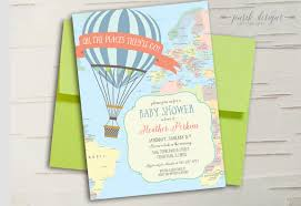 air balloon baby shower invitation oh the places