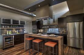 industrial kitchen ideas awesome industrial kitchen design with refrigerator and table bar