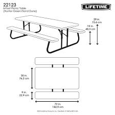 Lifetime Folding Picnic Table 6 Ft Folding Picnic Table Hunter Green