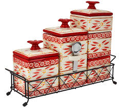 Red Ceramic Canisters For The Kitchen by Temp Tations Old World 6 Piece Ceramic Canister Set Page 1 U2014 Qvc Com