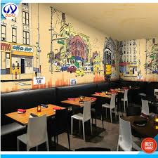 chambre de commerce hong kong 3d graffiti retro architecture theme wallpaper restaurant coffee tea