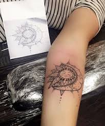 sun and moon mandala henna tattoos