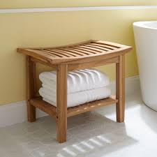 Bathroom Stools Bathroom Square Natural Wooden Bathroom Bench With Storage And