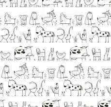 funny cartoon farm domestic animals seamless pattern for kids