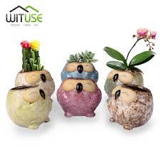 wituse 6x smiling owl ceramic plant pot kawaii mini succulent