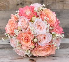 silk wedding bouquet silk bridal bouquet with roses coral dahlias s