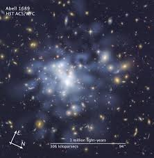 Dark Sky Map Compass And Scale Image For Abell 1689 Dark Matter Map Esa Hubble