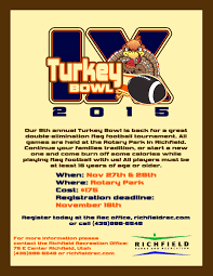 thanksgiving turkey calories turkey bowl 10 richfield parks and recreation