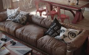 Interior Design Dark Brown Leather Couch 3 Ecectic Throw Pillows Interior Design Ideas