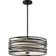 Modern Contemporary Pendant Lighting Quoizel Spl2820k Spiral Contemporary Mystic Black Drum Hanging