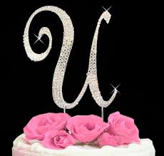 wedding cake toppers letters letter u cake toppers rhinestone initial t cake topper just jen