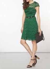green lace belted fit u0026 flare dress shopperboard