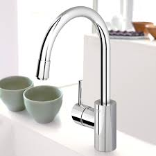 satin single hole grohe concetto kitchen faucet two handle pull