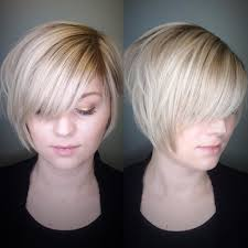 women u0027s polished blonde stacked bob with side swept bangs and soft