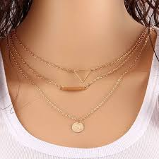 multi layered necklace images Gold plated multi layered necklace for women jpg