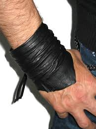 black leather cuff bracelet images Men 39 s black leather cuff bracelet wristband unisex jpg