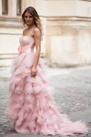 cascading ruffled pink organza strapless unique prom dress lunss