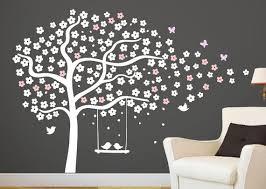 stickers geant chambre fille arbre mural stickers pépinière cerise au pochoir arbre blanc