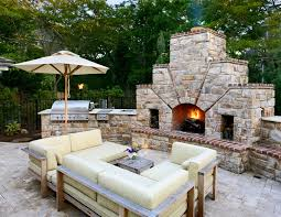 outdoor fireplace and grill patio contemporary with brick grill