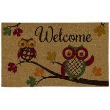 halloween doormat home accents autumn owls 18 in x 30 in door mat 60115239218x30
