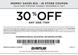 printable coupons in store coupon codes in store online print or show on mobile to get a 30 discount on any one item to use this coupon online enter code av30now at checkout november 21