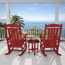 Rocking Chairs On Porch Presidential Rocker Set By Poly Wood Inc