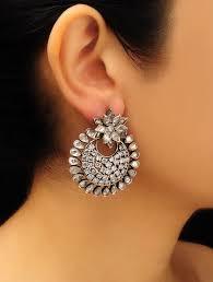 chandbali earrings buy silver floral zircon chandbali earrings online at