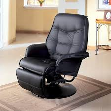 swivel recliner coaster furniture faux leather swivel recliner chair in black 7501