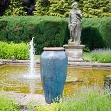 tall blue glazed oriental urn architectural tall blue mottled