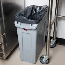 ideas rubbermaid trash cans in gray 16 gallon slim jim wall