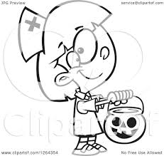 halloween images black and white clipart of a black and white cartoon trick or treating in a