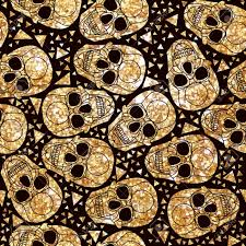 skull wrapping paper modern gold foil design ethnic pattern style for textile wrapping