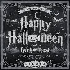 happy halloween on vintage blackboard stock vector art 490665848