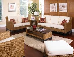 brown rattan sofa chair with white leather seat and back combined