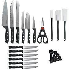 Cutlery Kitchen Knives Farberware 22 Piece Never Needs Sharpening Knife Set Walmart Com