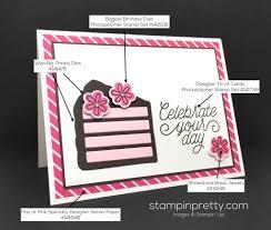 birthday card piece cake stampin u0027 pretty