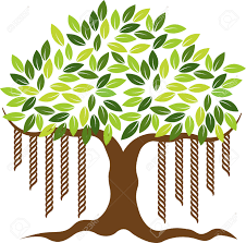 illustration art of a banyan tree icon with isolated background
