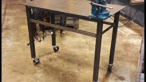 diy portable welding table building a welding table with vise wheels basic design youtube