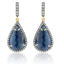 dimond drop sapphire and diamond drop earrings kastur jewels