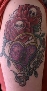 rose and thorns vine tattoo with heart lock and key tattooimages biz