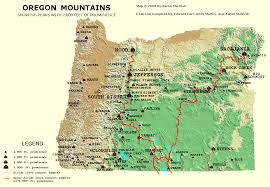 map of oregon 2 oregon 2 000 ft prominence peaks photos diagrams topos