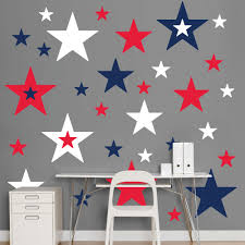 Red White Flag With Blue Star Red White And Blue Stars Realbig Wall Decal