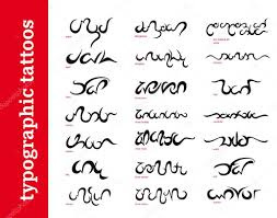 typographic calligraphic ornamental tattoos tribals stock