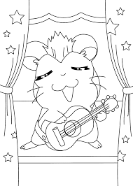 hamtaro musician coloring pages for kids printable free