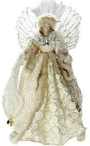 lighted fiber optic golden sequined gown tree topper