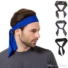 headband sport women men striped solid tie back sport headband non slip stretch