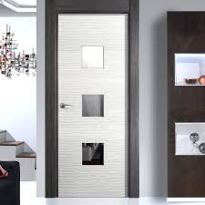 Safety Door Design by Jbk Ripple Textured Flush Door With Clear Safety Glass Flush